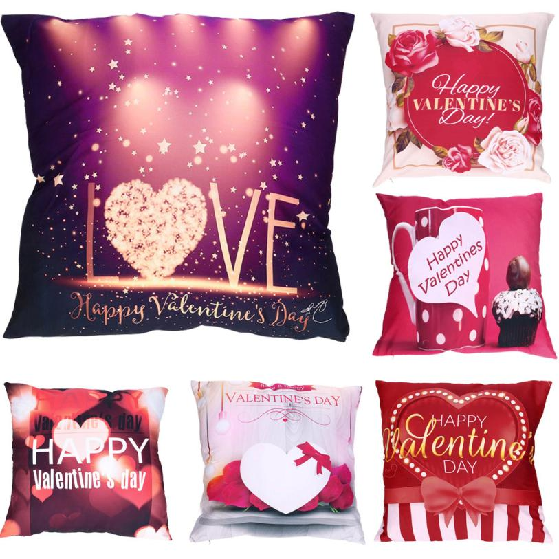 Happy Valentines Day Pillow Cases 45x45cm Cotton Decorative Cushion Cover Love Throw Pillow Case valentines day decor 2O1227