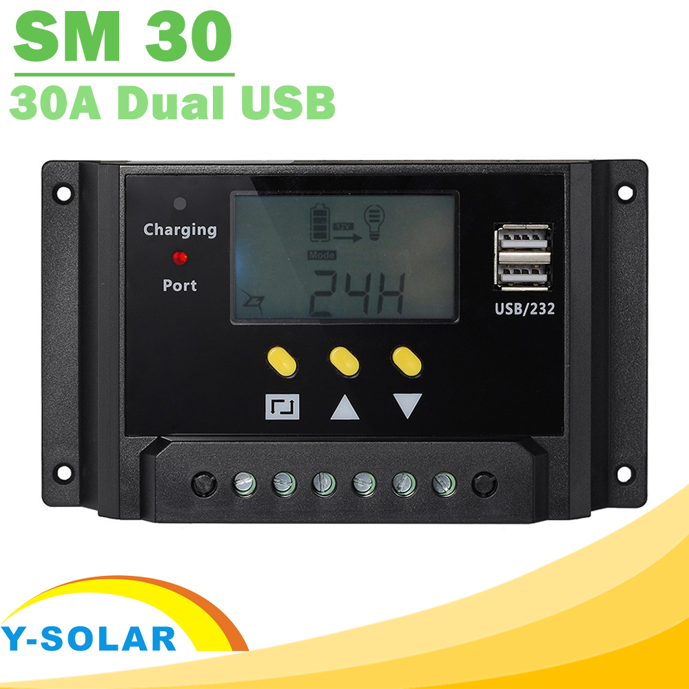 30A 12V 24V Solar Controller LCD Solar Panel Regulator with Dual 5V USB Light and timer Control Function Hot selling
