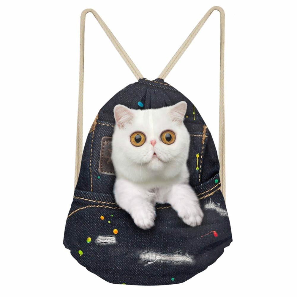 ThiKin Denim Cat Girls Drawstring Bag Fashion Softback Storage Backpacks Beach Bag Large String Backpack Student School Bag
