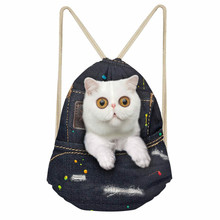 ThiKin Denim Cat Girls Drawstring bag Fashion Softback Storage Backpacks Beach Bag Large String Backpack Student School Bag