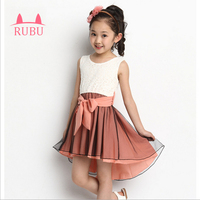 בנות להתלבש בגדי קיץ ילדה מסיבת יום הולדת שמלות זנב שיפון ורוד וצהובים צבעים שמלת נסיכת חתונה