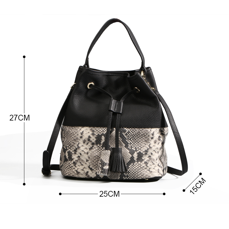 Qi Fashion Women S Bucket Bag Genuine Leather For Famous Brand Snakeskin Handbag Australia Las Loved In Shoulder Bags From Luggage