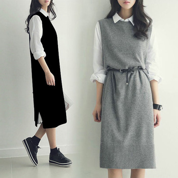 Casual Long Vest Women Mid-long Sweater ...