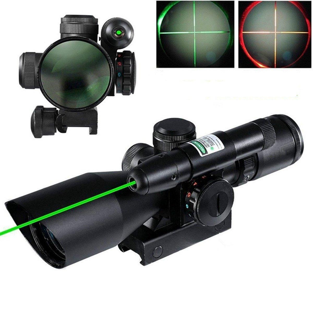 Tactical 2.5-10X40 Ottica portata di Caccia di Portata del Fucile Red & Green Doppio illuminato Mil-dot w/ montaggio su guida Mirino