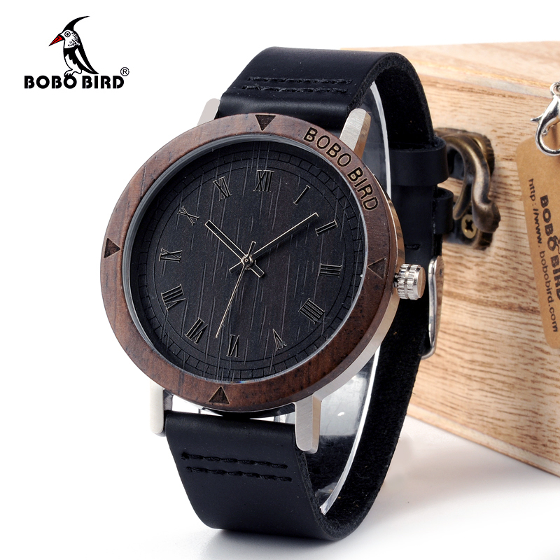 BOBO BIRD WK05 Mens Watch Rome Number Dial Face Soft Leather Band Japan Quartz 2035 Wristwatch Drop Shipping Accept OEM Relogio bobo bird d10 red nylon straps fashion bamboo wood watches wooden dial face japan 2035 quartz watch for women men accept oem