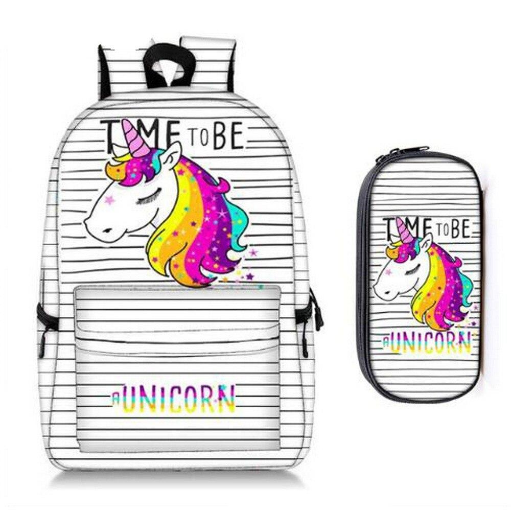 rainbow unicorn / panda / bunny cream backpack + pencil bag children school bags for teenager girl women travel backpackrainbow unicorn / panda / bunny cream backpack + pencil bag children school bags for teenager girl women travel backpack