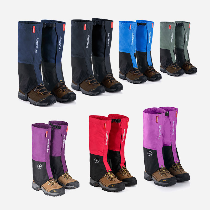 Naturehike Waterproof Snow Covers high Outdoor Meadows Skiing Gaiters Boots Shoes Covers Men Women's Dirt proof Legging Black