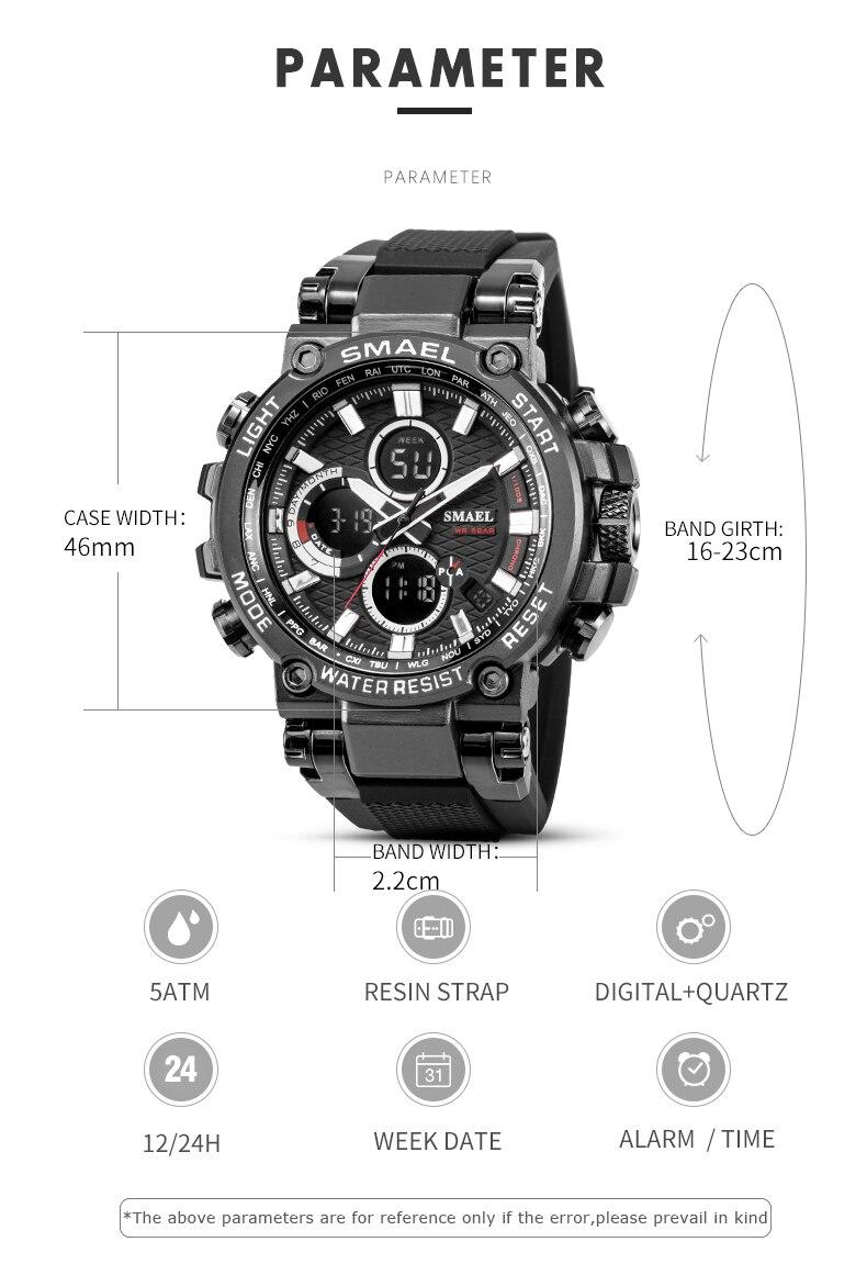 Smeal masculino esporte relógios digital duplo tempo