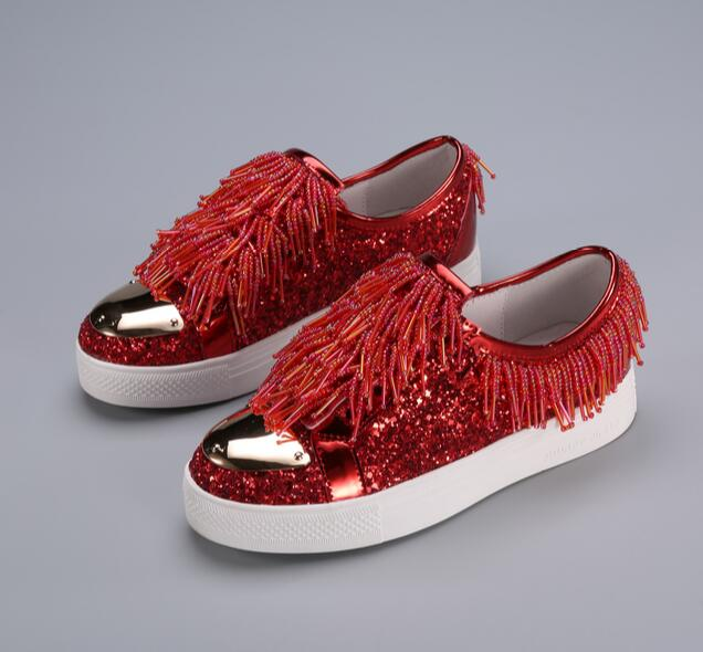 Candy colors 2017 spring Korean fashion style sequined flats for woman string beads tassels slip-on shoes casual flats for lady