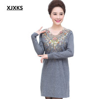 XJXKS New Fashion Women Pullover Long Sweaters Unique Back Translucent Design Plus Size 4XL Comfortable Sweater Dress