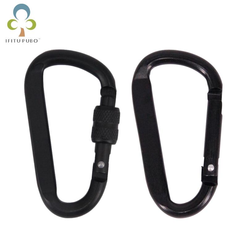 1 ud. Mosquetón de aleación de aluminio de 7cm llavero negro d-ring llavero Camping llavero Snap Hook Kit de viaje al aire libre GYH