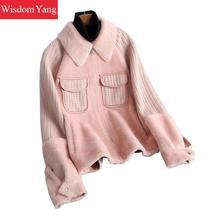 Winter Warm Genuine Leather Sheepskin Shearing Coat Beige Pink Blue Jackets Coat Womens Ladies Sweater Coats Overcoat Outerwear