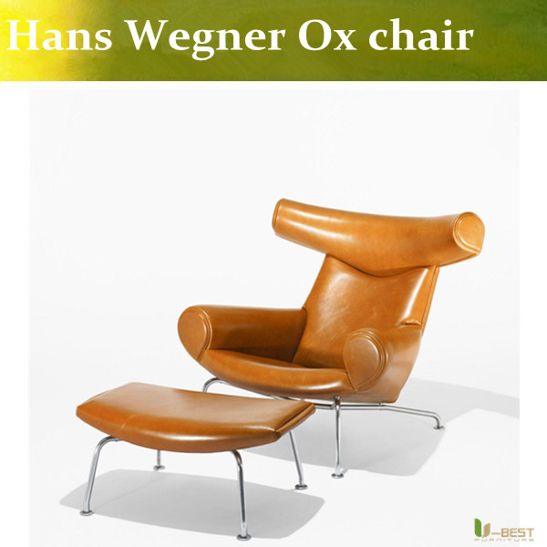 U-BEST Living room luxury modern leather OX chairs,Hans J Wegner ox horn lounge chair replica chaise chair u best high quality ox chaise lounge original ox lounge chair with ottoman ox chair leather ox chair