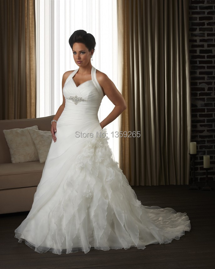 plus size wedding dresses women halter bride gowns tiered white