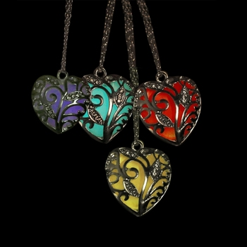 Glow In Dark Hollow Heart Pendant Luminous Necklace Women Wicca Goth Chokers