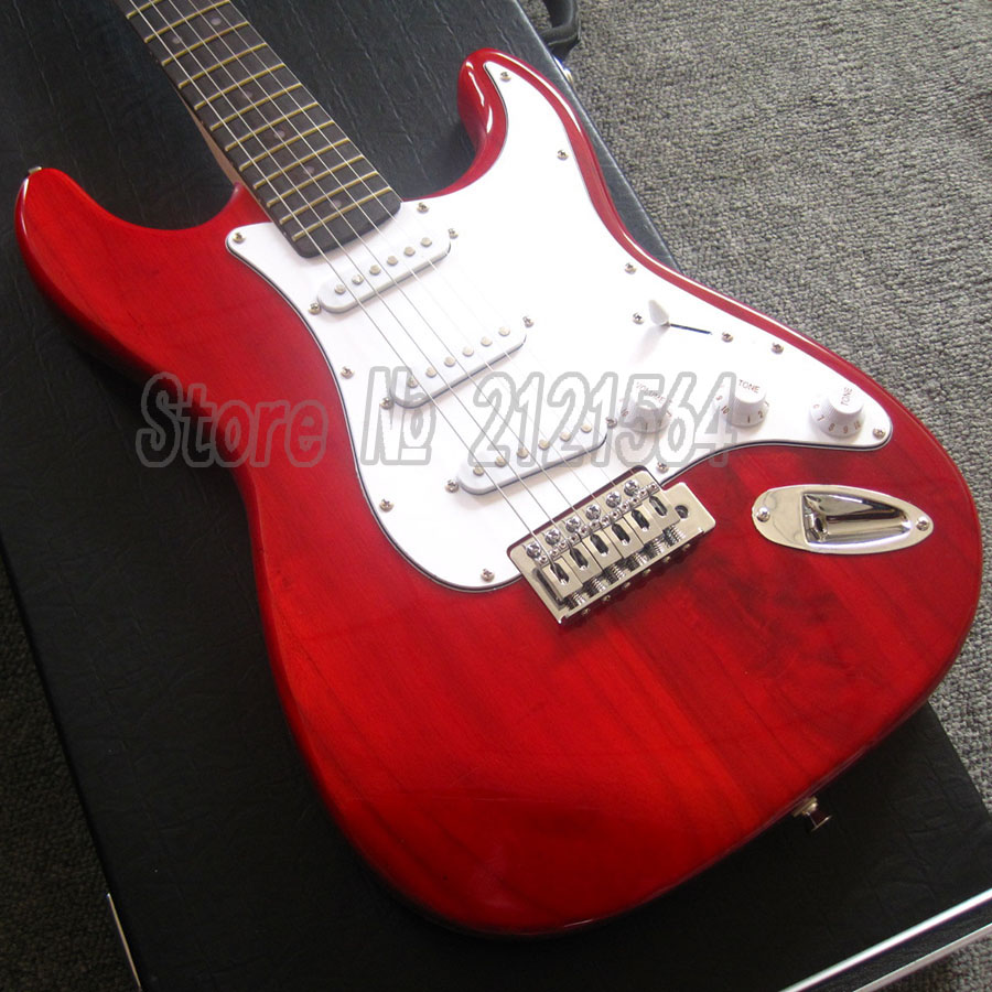 Chinese Guitars For Sale ST Guitar Electric Red Color Body Rosewood Fingerboard Free shipping chinese glossy black g6128t gh george harrison signature duo jet electric guitar with bigsby for sale