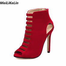 c88aae6a48ad MeiLiKeLin Flcok Leather Summer Women Boots Cage Shoes High Heels Open Toe  Gladiator Boots Red  Black Street Beat Ankle Boots 40