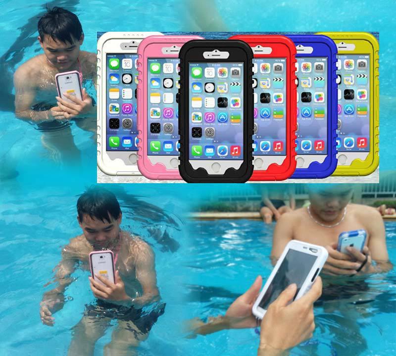 """imágenes para IPX8 Impermeable Subacuático natación Buceo caja de la caja para el iphone 6 4.7 """"carcasa a prueba de agua para iPhone 6 Plus 5.5"""" correa de Cordón"""