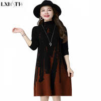 LXMSTH Woman Sweaters Brand Autumn Winter New Korean Loose Women Knitted Sweater Dresses Long Turtleneck Sweaters