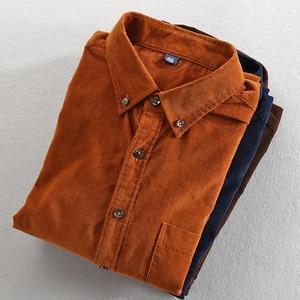 Image 4 - Primavera e outono marca de moda estilo japão vintage cor sólida veludo camisa masculina casual fino algodão manga comprida camisas