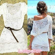 Mini Dress One Size Sexy Women Lace Crochet Dress Summer Beach Dress See Through Laipelar sweet lace crochet see through pure color blouse