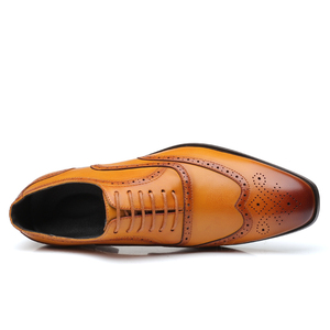 Image 3 - Leather Men Dress Shoes Formal Wedding Party Shoes For Men Retro Brogue Shoes Luxury Brand Mens Oxfords
