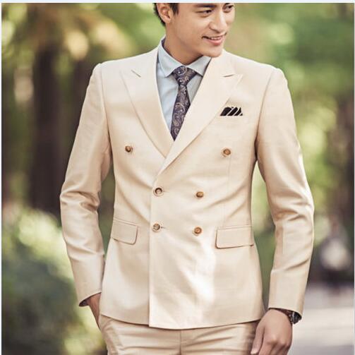 2017 Latest Coat Pant Designs Beige Wedding Suits for Men Slim Fit 2 Piece Tuxedo Custom Groom Suit Prom Blazer Terno Masuclino