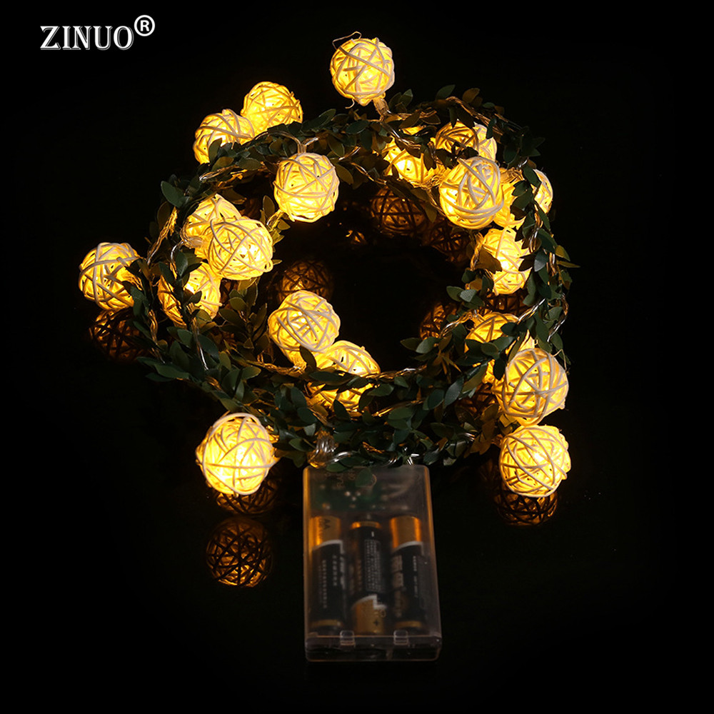 ZINUO 2M 20LEDs Garland Rattan Ball Leaf LED String Holiday Lights - Мерекелік жарықтандыру - фото 2