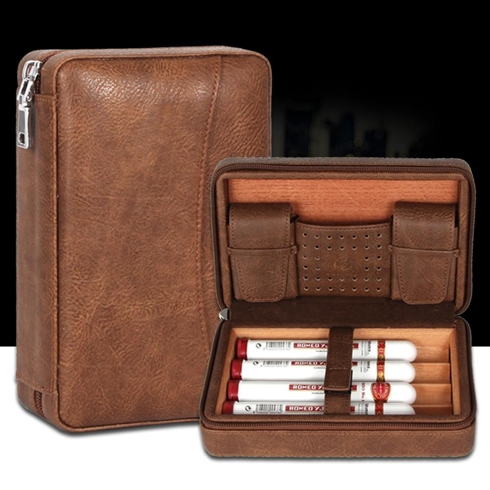 GALINER Portable Humidor Cigar Travel Case Leather Cedar Wood 4 Tube Holder Cigar Humidor Charuto Box F/ Cuban Cigar Accessories