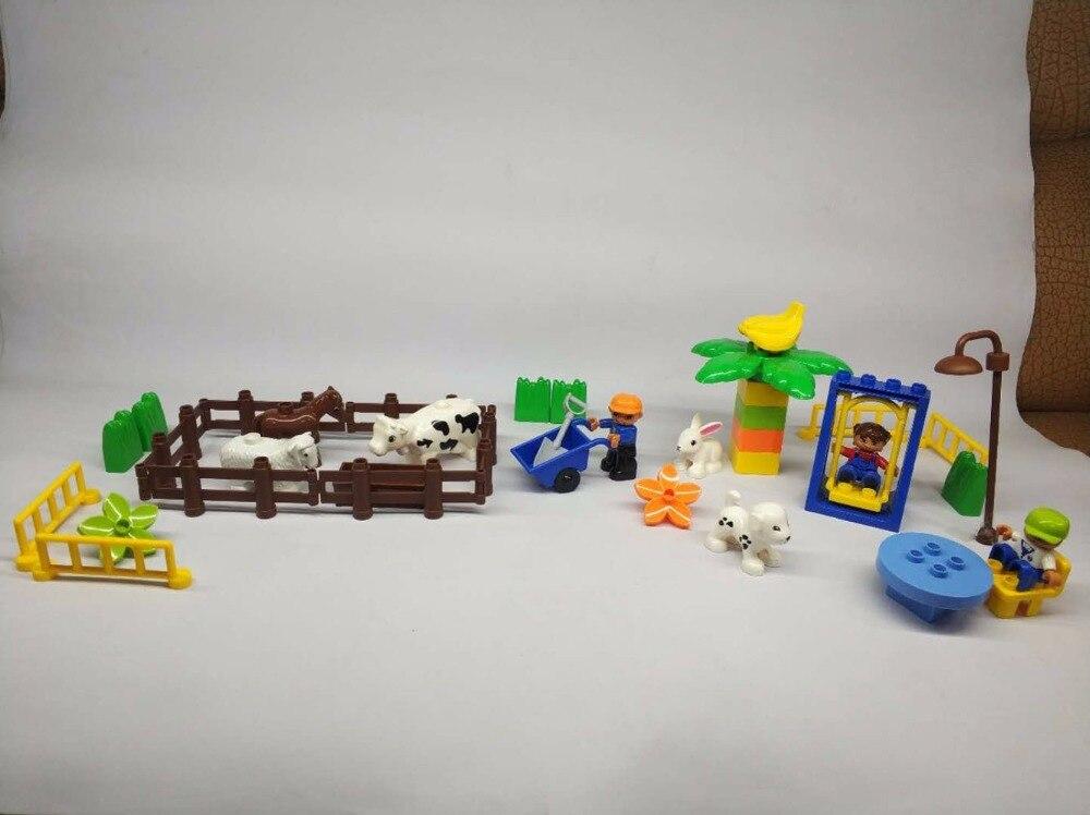 Farm Animal set Duplo Amusement Large Building Blocks  Assemble Brick Toys Brinquedos Play House