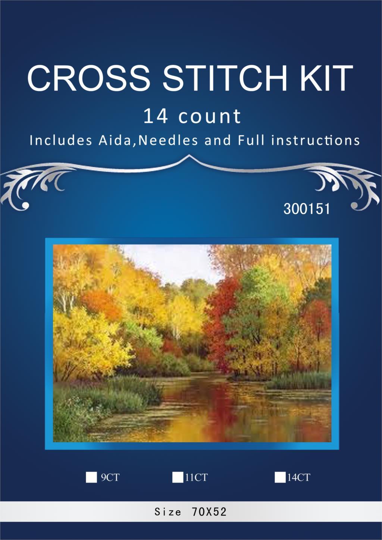 Livraison gratuite 14CT belle compté point de croix Kit similaire DMC Dim beau jardin similaire dmc fils automne forêt rivière 2017
