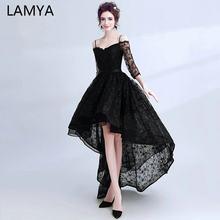 0be185318b LAMYA Simple alta baja y vestidos De noche negro media manga De encaje De  baile vestidos De fiesta sin espalda vestido Formal ve.
