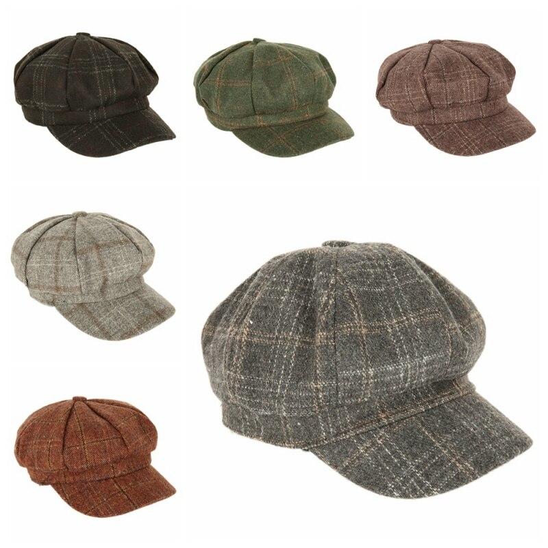b33cfa1a67a Women New Hat Beret Octagonal Beret Cool Stuff Cap Plaid for Baseball  Tennis Awning Female Hats