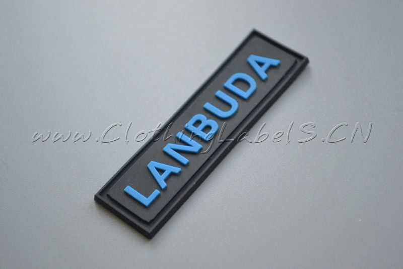 custom rubber label pvc material embossed logo labels for bags