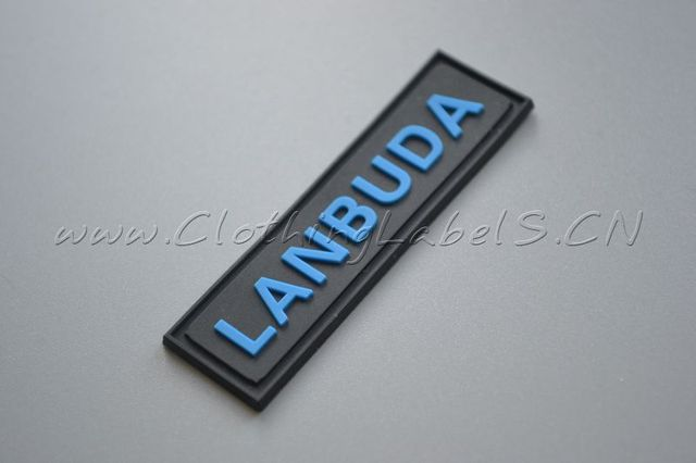 custom rubber label, PVC material, embossed logo, labels