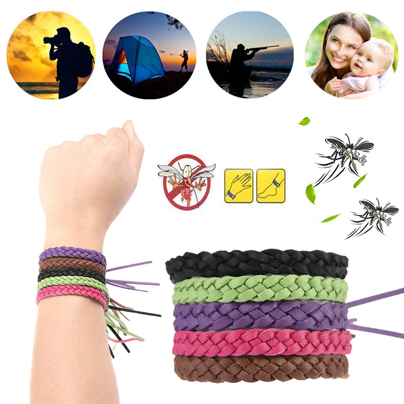 8PCS Mosquito Repellent Bracelet Leather Woven Diy Handmade Accessories Newborn Baby Anti Mosquito Insect Bugs Buckle Kids Toys