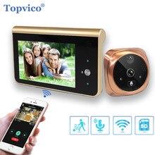 """Timbre de puerta Topvico, cámara de timbre con Wifi y mirilla, Monitor de 4,3 """", visor de puerta con detección de movimiento, videoportero inalámbricoTimbre"""