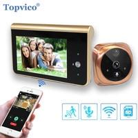 Topvico Câmera de Vídeo Olho Mágico Wi fi 4.3 Polegada Monitor de Detecção de Movimento Visor Da Porta de Vídeo olho Anel Inteligente Sem Fio Campainha Intercom|Campainha| |  -