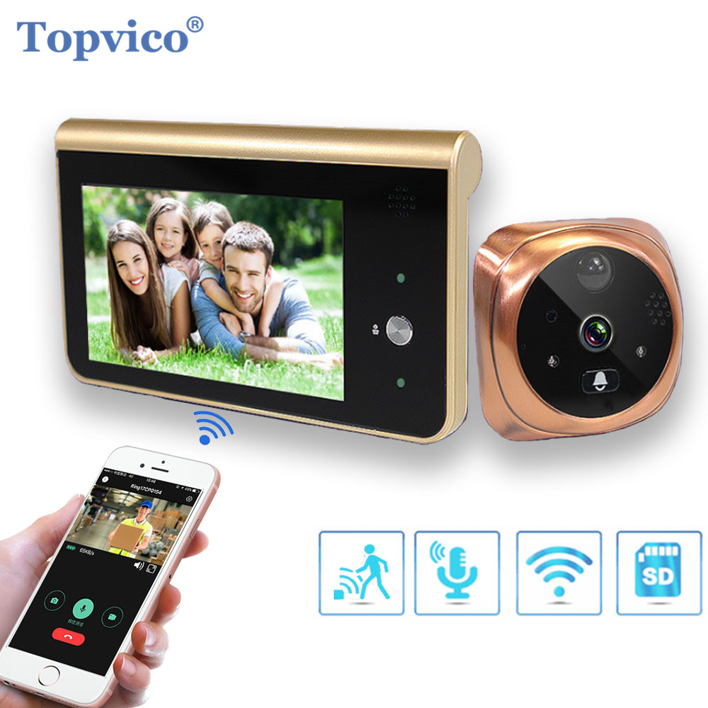 "Topvico Doorbell Video Peephole Wifi Doorbell Camera 4.3"" Monitor Motion Detection Door Viewer Video-eye Wireless Ring Intercom"