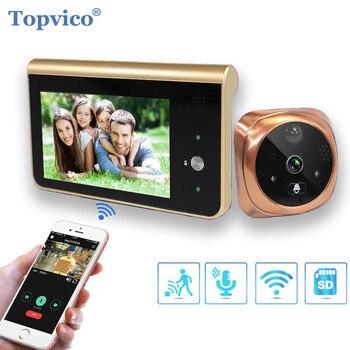 Topvico Türklingel Video Guckloch Wifi Türklingel Kamera 4.3 Monitor Motion Erkennung Tür Viewer Video-augen Drahtlose Ring Intercom