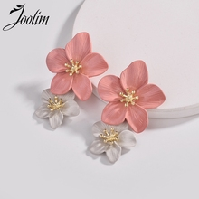 Joolim 2 Layered Flower Earrings Pink Earring Spring Floral for Women  2019 Jewelry Wholesale