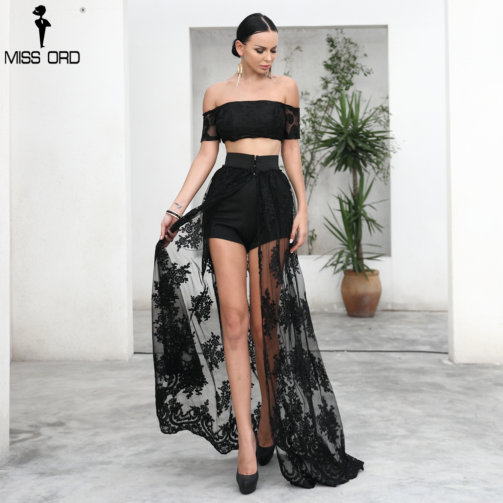 Missord 2019  summer Sexy beach  print see through solid color high split lace skirt  FT9567