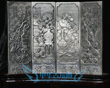 Chinese Boutique collection Tibetan silver carving Antique flower folding screen