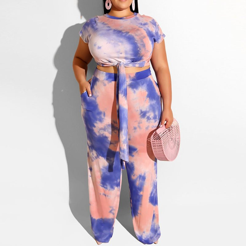 Summer Elegant Plus Size Sexy Club Street 2 piece Set Women T-Shirts Pants Lace-Up Print Clothes 2019 Office Ladies Female Suits