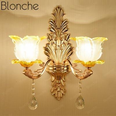 Modern Led Wall Light European Gold Luxury Wall Lamp for Bedroom Living Room Bedside Home Stair Decor Lamp Sconce Loft Luminaire