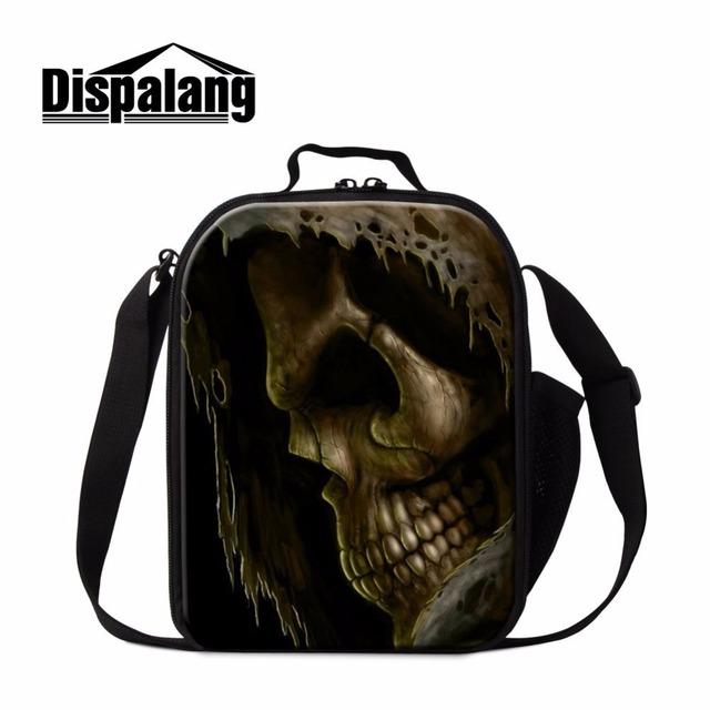 Dispalang multi-funcional das crianças mais frias lancheiras fresco do crânio cabeça de impressão térmica food lunchbox picnic lunch bag com alça