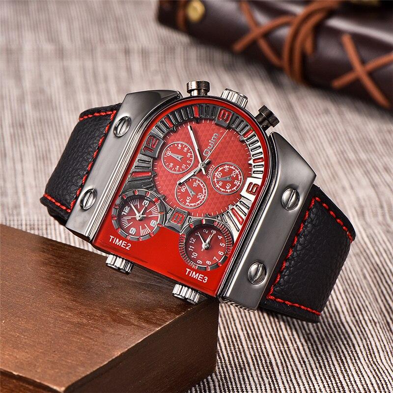 a68d14c1cbe Várias Fuso Horário Oulm Relógios de Design Exclusivo 3 Diferentes Tempo de  Esportes Ao Ar Livre Relógio Masculino Casuais dos homens de Couro PU  relógio de ...