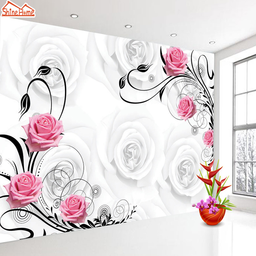 Shinehome 3d Flower Wallpaper Red Rose Photo Wallpapers Nature