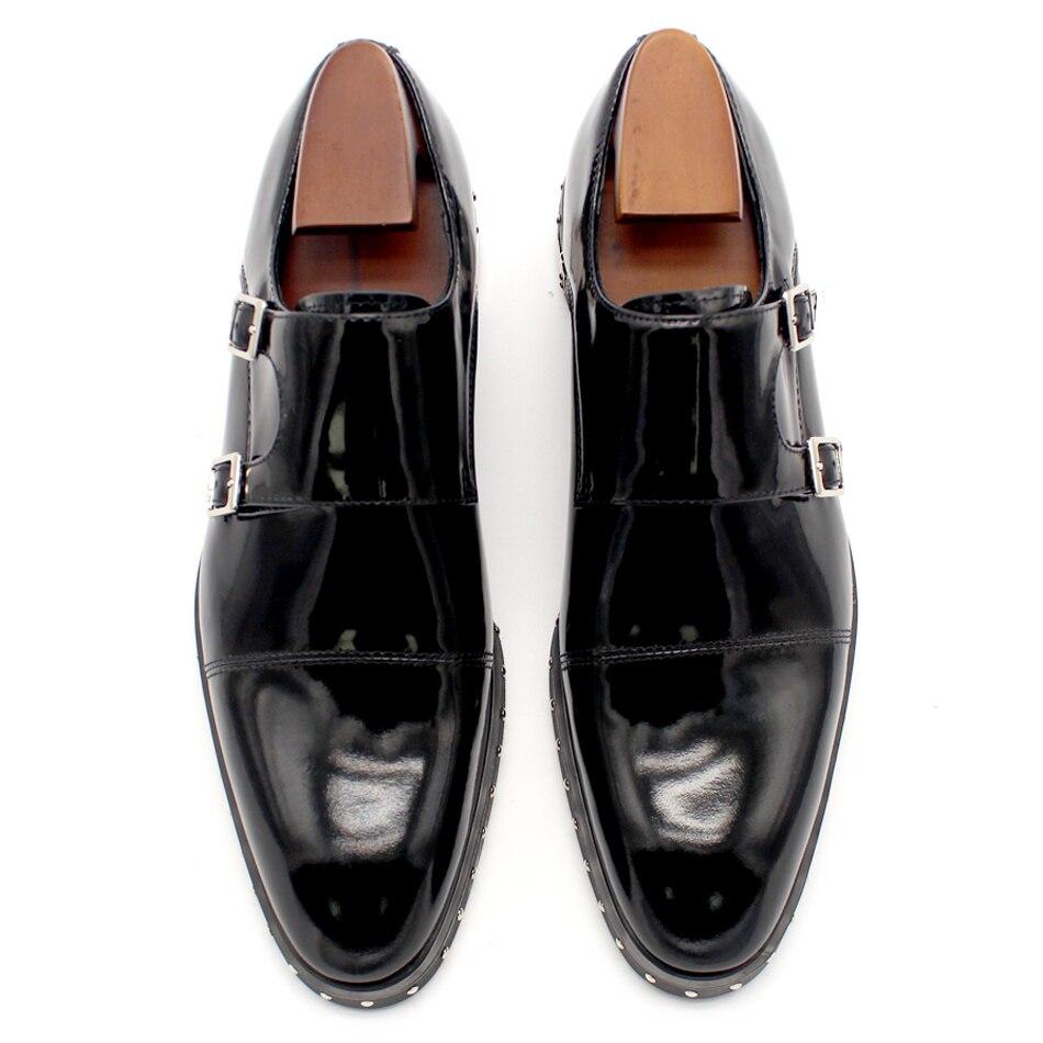 สีดำ Monk Rivets อย่างเป็นทางการชุดรองเท้าส้นแบนชายรองเท้างานแต่งงานฤดูใบไม้ร่วงสุภาพบุรุษอิตาลี Oxfords-ใน รองเท้าทางการ จาก รองเท้า บน   2