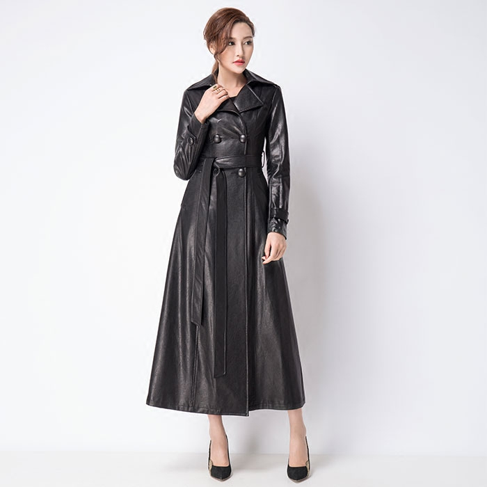 Popular Black Leather Trench Coat Women-Buy Cheap Black Leather ...